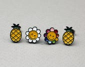 Cute Illustration Earrings, Pineapple and Smiley face Flower Stud earrings, Cute Pineapple stud earrings,Pineapple stud,Pineapple Jewelry,