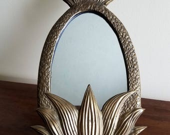Vintage Brass Pineapple Vanity Mirrors Set of Two Hollywood Regency Mid Century 1960s