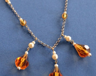 Vintage 1930s Sterling Silver and Czech Glass Bead Necklace