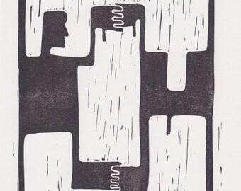 Hugging men linocut print -A5