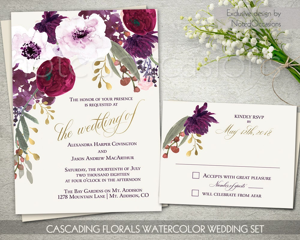 Boho Chic Wedding Invitation Printable Set Bohemian Wedding