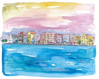 Willemstad Curacao Caribbean Sunset - Limited Edition Fine Art Print