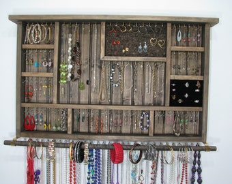 Wall Hanging Jewelry Organizer in Espresso
