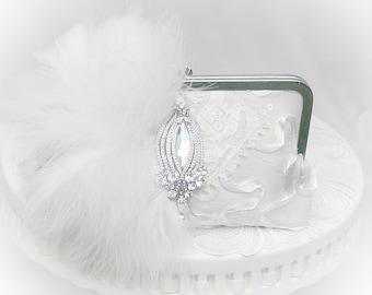 Great Gatsby / Ivory Bridal Clutch / Wedding Clutch / Rhinestone Wedding Clutch / Lace Wedding