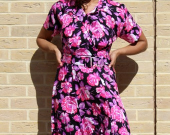 Vintage Dress Size 10 Floral Dress 80's Dress with Belt Vintage 80's Dresses for women Size 10 Women's Dress Floral Wedding Guest Dress