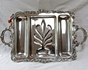Large silver plate waiter's meat tray...Sheridan tray with handles and feet...footed tray.