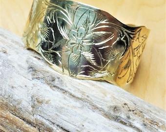 Vintage Flower Engraved Brass Cuff Bracelet