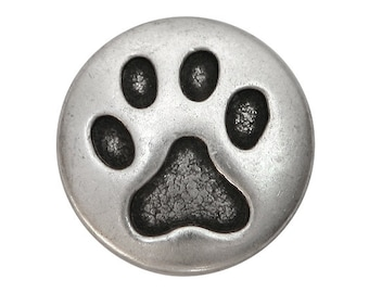 30 Cat Paw Metal Shank Buttons 3/4 inch ( 20 mm ) inch Antique Silver Color