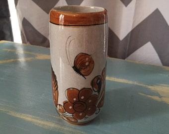 Vintage small ceramic brown bird vase
