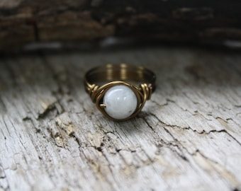 White Moonstone Wire Wrapped Ring, Antique Wire Ring, BOHO Jewelry, Washed Up Jewelry Co, Copper Ring, BOHO style ring, JUNE Birthstone