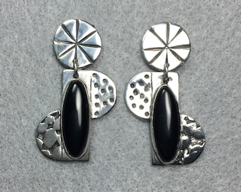 Sterling post earring with black onyx