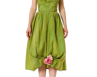 1960s Emma Domb Green Strapless Bow and Flower Rockabilly Party Dress SIZE: XS, 0