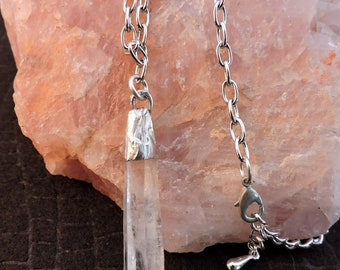 "Silver Soldered Quartz Crystal Point Necklace on 20"" Chain"