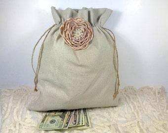 2 Wedding Money Bag, Bridal Money Bag, Wedding Money Dance Bag, Wedding Accessories, Money Bag, Burlap Wedding, Rustic Wedding, Dollar Dance