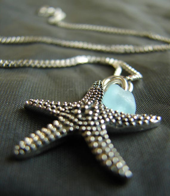 Starry Starry Night sea glass necklace in aqua