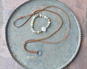Leather Love Stamped Necklace with Beaded Bracelet