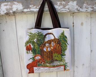 """Upcycled Vintage 1982 Calendar Tote, 14""""x12"""", vintage wall calendar, 1983 calendar, mushrooms, grocery tote bag, library tote bag, OOAK"""