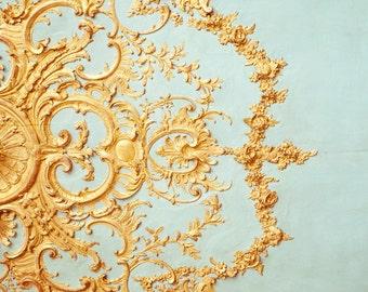 "Paris Architectural Detail, French Decor, Mothers Day Gift, Bedroom Wall Art, Paris Decor, Versailles Ceiling, Blue Gold Home Decor ""Folie"""