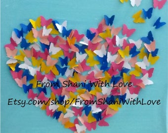3D Heart on canvas with butterflies- Personalized gift - Handmade - Love is a Butterfly