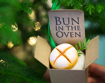 """Christmas Ornament Pregnancy Announcement """"Bun in the Oven"""" Custom, Baby, Gender Reveal, Unique, Stocking, For Him, For Her, Grandma Grandpa"""