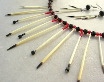 Unique Porcupine Quill Necklace Set, Native American-Inspired, Jade & Glass Beads,Great Earrings,Bonus-Baby Porcupine Photo by SandraDesigns