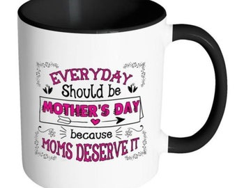 Mothers Day Mug Everyday Should Be Mothers Day Because White 11oz Accent Coffee