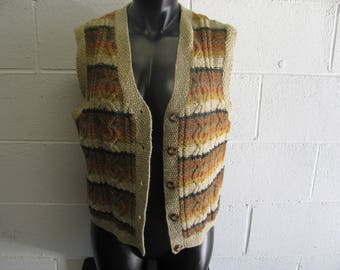 Vintage 90s Knit Sweater Vest Hipster Button Down Sleeveless sweater top
