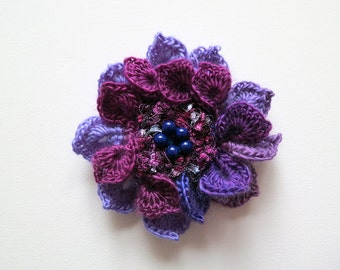 FREE US SHIPPING - Plum Maroon Lavender Violet Lilac Light Purple Magenta Color Crochet Statement Flower Brooch Hat Hair Shawl Scarf Pin