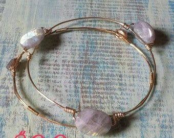 Bracelet set of two Labradorite bangles with gold tone wire  wire