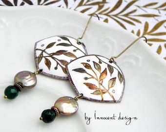 Enamel earrings - copper -  BAMBOO - ornamental