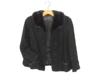 50s fur coat * persian lamb coat * 1950s jacket * fur collar * boxy cropped coat * m / l