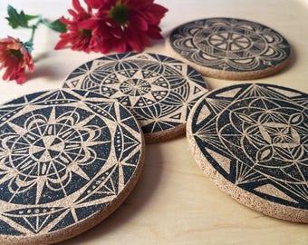 Mandala Coaster Set   Block print mandala design, black print on cork coasters, set of 4, housewarming and hostess gift