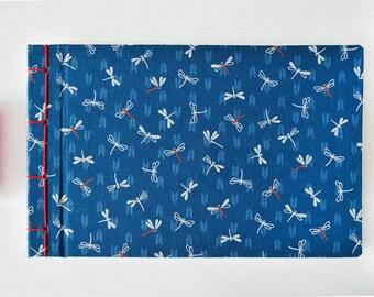 Notizbuch japanisch, handgebunden- Journal, Tagebuch, Album, Skizzenbuch, Hochzeitsalbum - Libellen - Blau, rot, weiß