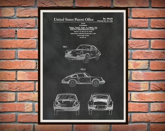 Patent 1964 Porsche 911 - Carrera Sports Car - Poster - Wall Art - Drawing Illustration - Automobile Patent - German Sports Car