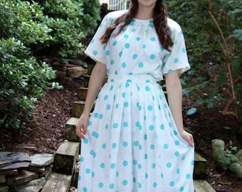 1980s dress, skirt and top, aqua white, polka dot dress, two piece set, blousy top, full skirt, Size M