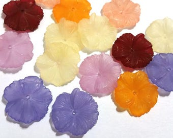 20 Pieces 15mm Frost Rainbow Mix German Carnation Flowers Lucite Flower Beads Plastic Beads