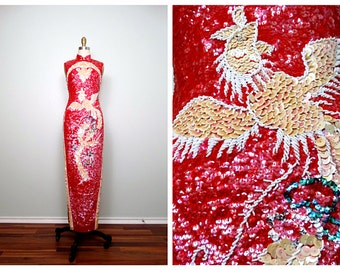 Vtg Oriental All Sequin Dress / Mandarin Party Dress / Ivory and Red Embellished Sequined Gown 32