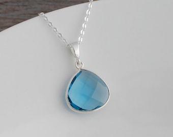London Blue Quartz and .925 Sterling Silver Necklace; Wide Pear Pendant; Genuine London Blue Quartz; December Birthstone Jewelry