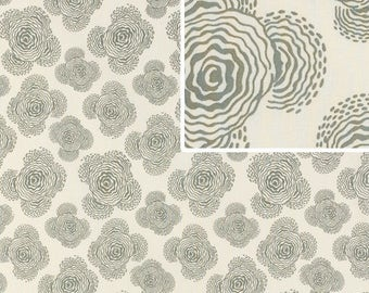 Amy Butler Midwest Modern Floating Buds in Gray Fabric - Free Spirit Fabric - Floral Fabric by the Yard - Gray and White - OOP Rare Fabric