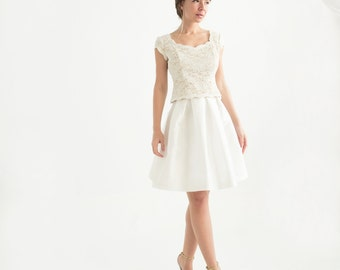 Short Sleeve Lace Top - Wedding Separates - Carmela Top