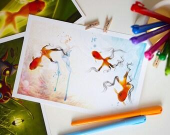 Large Fantasy Fish Postcard, Nursery Decor, Home Decor, Invite -  8.5 x 5.5 inches