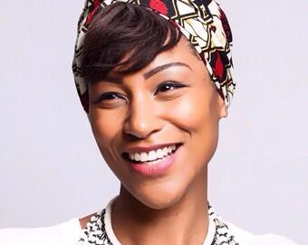 Red print African head wraps Scarves | African Headwraps | African Hair Wraps | African Headscarf | African Head Ties | Ankara Print
