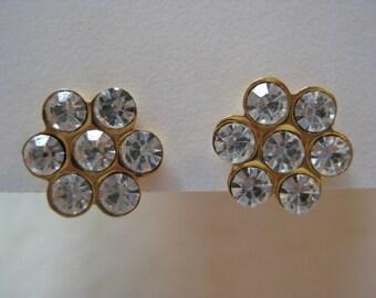 Flower Rhinestone Earrings Gold Clear Pierced Post Vintage