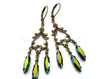 Jet Black AB Earrings. Marquise Vintage Rhinestone Clip On Earrings Choose a Color