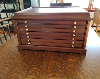 English six Draw Mahogany Coin collecting Cabinet