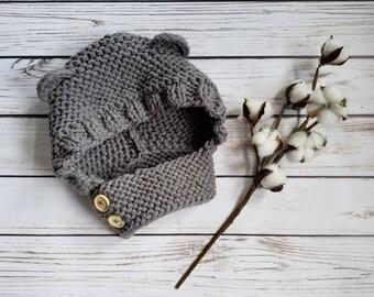 Knit Bear Hood, Bear Ears, Bear Hat, Child Scarf, Woodland, Neutral, Baby Bear, Forest Animal,Chunky Knit,Child Knit, Infinity Scarf