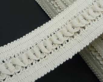 3 yd / 2.7 meter NON-Stretch Beige Braided Crochet Cotton Lace 1-1/2 iinch / 3.8 cm width L577