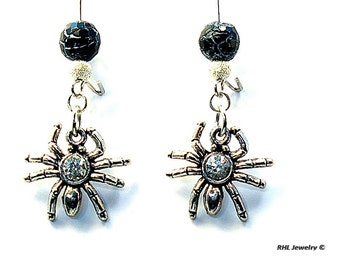 Spider Earrings, Spider Jewelry, Bug Earrings, - E2016-03