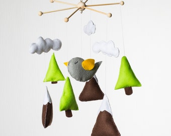 Baby mobile hanging Baby mobile Mountain Mobile Baby Trees and mountains Baby mobile bird Nursery mobile Crib mobile Baby mobile woodland