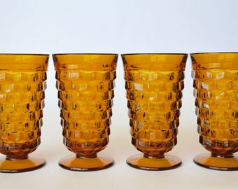 Whitehall Amber Iced Tea Glasses by Colony, Amber Whitehall Tumbler, Cube Design, Amber Drinkware, Amber Tumblers, Amber Glassware